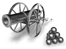Cannon and cannonballs. Three dimensional illustration of retro silver cannon and pile of cannonballs, isolated on white background Stock Images
