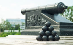 Cannon with cannonballs Stock Photos