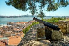 Cannon at Castelo de Sao Jorge, Lisbon Royalty Free Stock Images