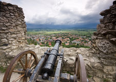 Cannon in castle Stock Images