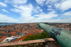 Cannon at Castle of Sao Jorge, Lisbon, Portugal Royalty Free Stock Images