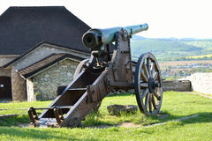 Cannon. Castle cannon to walls serving to defend the castle in Trencin in Slovakia Stock Photo