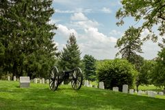 Cannon in Cemetery Gettysburg National battlefield royalty free stock image