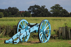 Cannon at Chalmette Battlefield. Downriver from New Orleans in Chalmette, Louisiana is the site of the January 8, 1815, Battle of New Orleans: Chalmette Royalty Free Stock Photography
