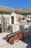 Cannon on city walls of Dubrovnik, Croatia (UNESCO site) Royalty Free Stock Photos