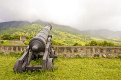 Cannon at Cloudy Mountains Stock Photos