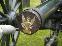 Cannon cover. A golden eagle adorns a wooden plug in a Civil War-era cannon Stock Photography