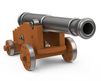 The cannon. 3d generated picture of a cannon on a white floor Royalty Free Stock Photography