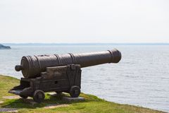 Cannon on a defensiv wall Royalty Free Stock Photography