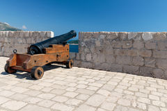 Cannon of the defensive fortress Lovrijenac. In old town of Dubrovnik, Croatia Royalty Free Stock Images