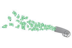 Cannon dollar. Cannon firing large numbers of dollars Stock Photography