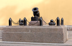 Cannon at the entrance of the Admiralty building Royalty Free Stock Photo