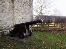 Cannon at Etal Castle, Northumberland. UK Stock Image