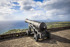 Cannon faces the Caribbean Sea at Brimstone Hill Fortress. On Saint Kitts. West Indies Stock Image