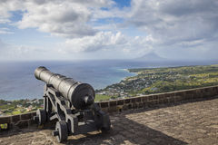 Cannon faces the Caribbean Sea at Brimstone Hill Fortress Stock Photography