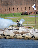 Cannon fire Fort James Jackson Royalty Free Stock Image