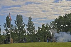 Cannon Firing at Fort Sisseton Royalty Free Stock Photo
