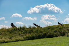 Cannon at fort mchenry baltimore usa flag stock photo