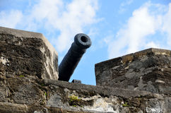 Cannon in Fort,  St. Augustine, Florida. Cannon in fortress at Castle of San Marcos in St. Augustine, Florida Royalty Free Stock Photography