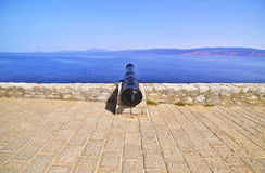 Cannon of the fortification of Hydra island Greece Royalty Free Stock Images