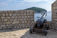 Cannon in fortress of Dubrovnik Stock Image