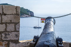 Cannon in fortress of Dubrovnik Royalty Free Stock Photo