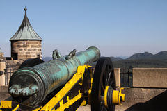 Cannon on the fortress Königstein. Cannon standing on the fortress Königstein near dresden. This is part of the beautiful national park Sächsische Schweiz in Stock Photos