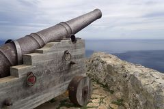 Cannon in fortress in mallorca royalty free stock images