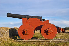 Cannon at Fredriksten. At Fredriksten Fortress in Halden contains a number of old cannons and this is one of those Royalty Free Stock Photo