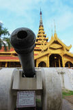 The cannon in front of Mandalay Royal Palace,Myanmar.Non English texts are the same meanings as the English texts below. Royalty Free Stock Photography