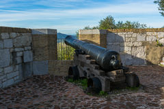 Cannon in front of the Moorish Castle in Gibraltar. Gibraltar: Cannon in front of the Moorish Castle in Gibraltar Royalty Free Stock Photography