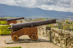 Cannon in the garden of Chaves castle stock photography