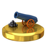 Cannon on gold podium Royalty Free Stock Photos