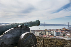 A Cannon in the ground of the castle sao Jorge Royalty Free Stock Photo
