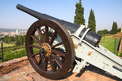 A cannon guarding the city Royalty Free Stock Image