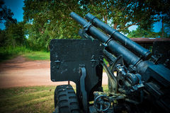 Cannon on the gun carriage Stock Photo