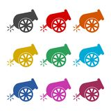 Cannon icon, color icons set. Simple vector icon Royalty Free Stock Image