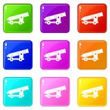 Cannon icons 9 set. Cannon icons of 9 color set isolated vector illustration Stock Images