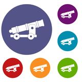 Cannon icons set. In flat circle red, blue and green color for web Stock Photo