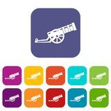 Cannon icons set. Vector illustration in flat style in colors red, blue, green, and other Stock Photo
