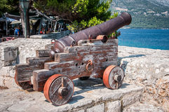 Cannon of Korčula. Centuries old protector of the city of Korčula Royalty Free Stock Images