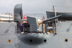 Cannon on the legendary revolutionary cruiser Aurora at the plac Stock Photo