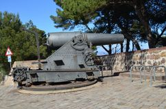 Cannon on Montjuic mountain. Old cannon on Montjuic mountain Stock Photo