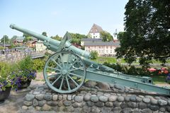 Cannon monument in Porvoo, Finland royalty free stock photos