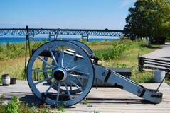 Cannon near the Mackinac Bridge. A Cannon near the Mackinac Bridge, at Fort Royalty Free Stock Image