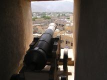 Cannon of Nizwa Fort. Picture of old cannon is taken in Nizwa Fort in Oman stock photo
