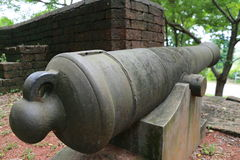 Cannon at Noen Wong Fortress. Noen Wong Fortress is an ancient military camp established in the reign of King Rama III who ordered Chao Phraya Phra Klang to have Stock Photography