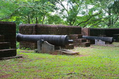 Cannon at Noen Wong Fortress. Noen Wong Fortress is an ancient military camp established in the reign of King Rama III who ordered Chao Phraya Phra Klang to have Stock Images