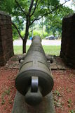 Cannon at Noen Wong Fortress. Noen Wong Fortress is an ancient military camp established in the reign of King Rama III who ordered Chao Phraya Phra Klang to have Stock Photo