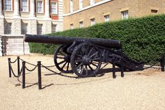 Cannon, Old Admiralty Horse Guards Parade, London, England. Weapon. field artillary in a British landmark called Old Admiralty Horse Guards Parade in London Stock Photography